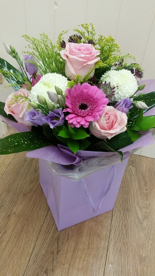 Pink and purple hand tied