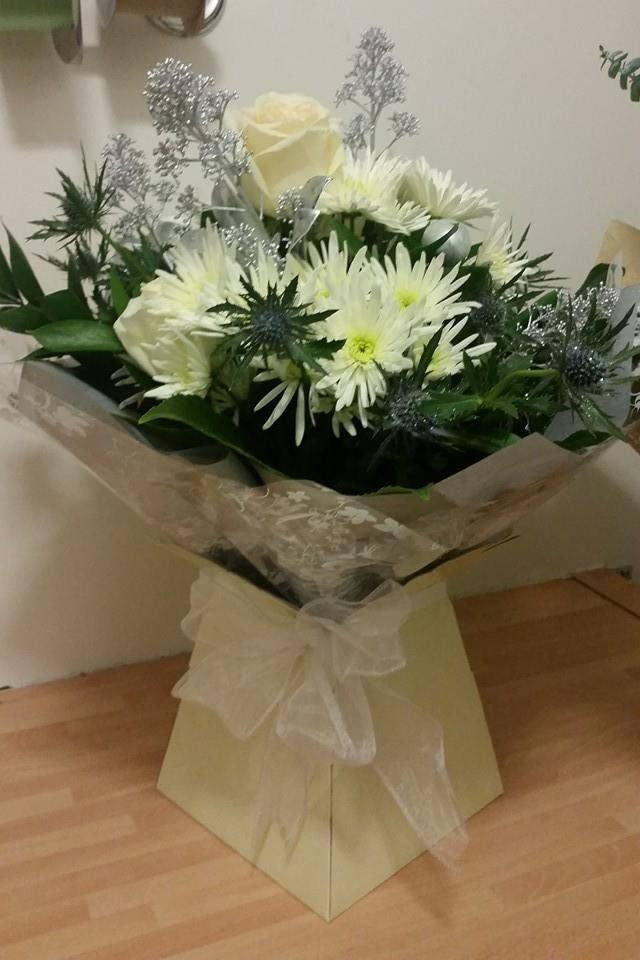 Silver and cream hand tied