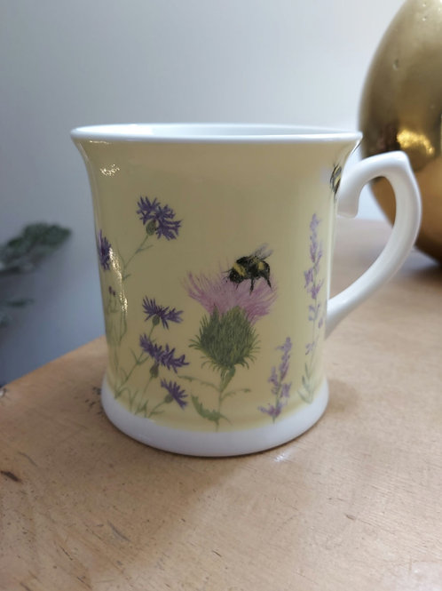 Bee & Flower Yellow Mug
