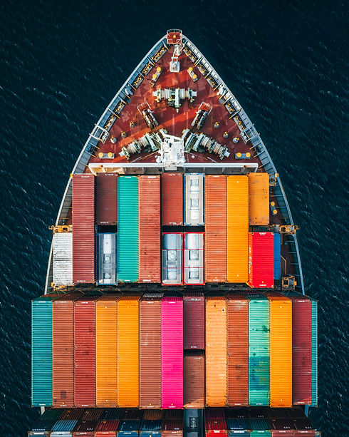 Container vans on a boat