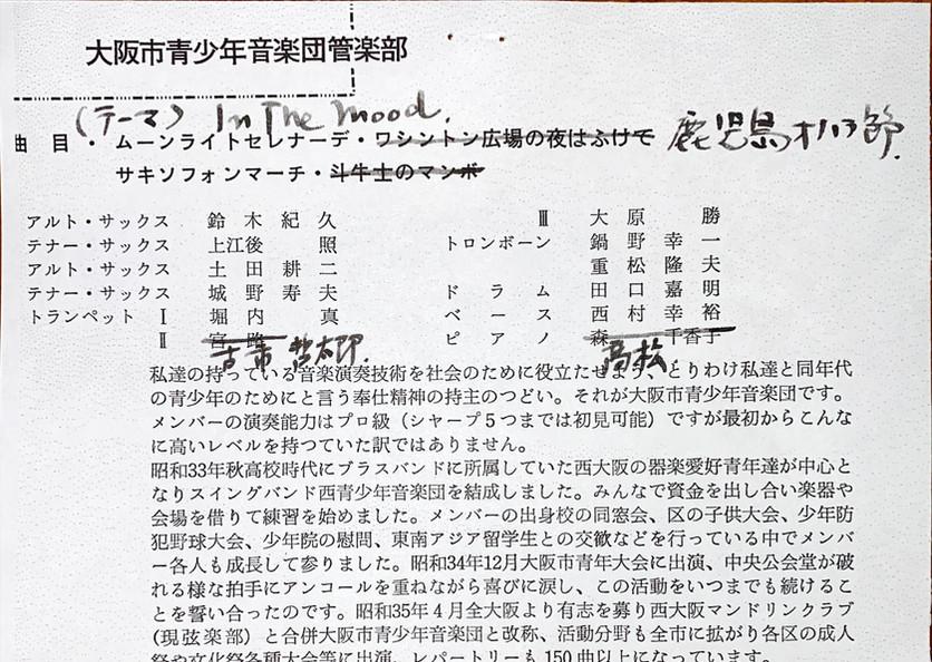 大阪市青少年音楽団管楽部コンサートのプログラム