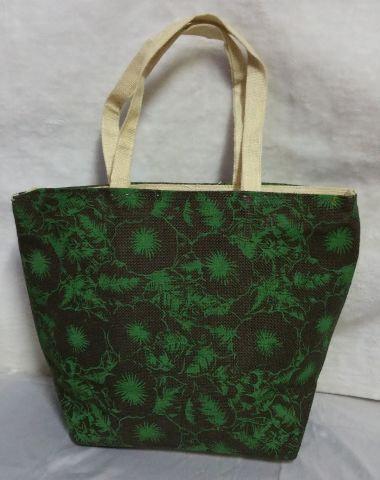 Green Flowery Print Handbag