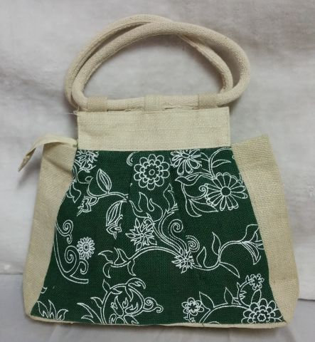 Green & White Print Handbag
