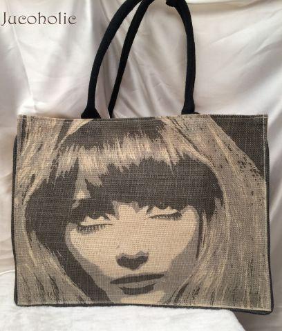 Black and Brown Girl Face print Handbag