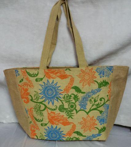 Flowery Print Beige Handbag