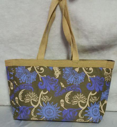Blue Flowery Print Handbag
