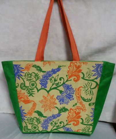 Flowery Print Orange Handbag