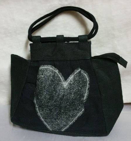 White Heart Print Handbag