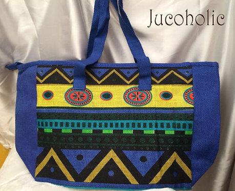 Blue Geometrical print Handbag