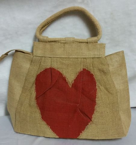 Red Heart Print Handbag