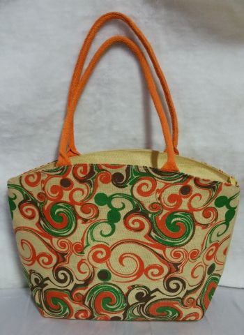 Orange & Green Print Handbag