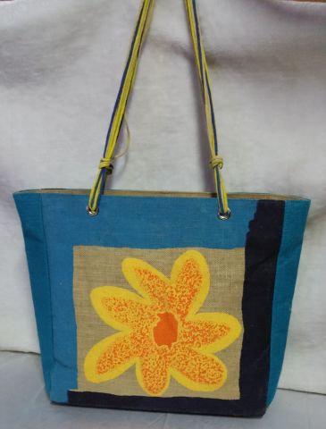 Blue Multistrand Flower Print Handbag
