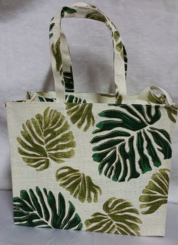 Gold & Green Leaf Print Handbag