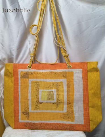 Yellow with Gold print Handbag