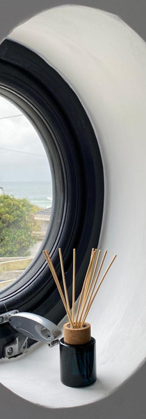 Porthole window in the master bedroom