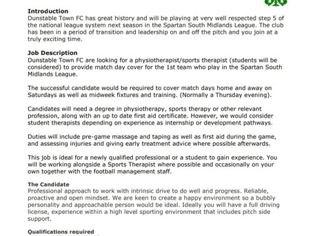 Physiotherapist/Sports Therapist wanted .....