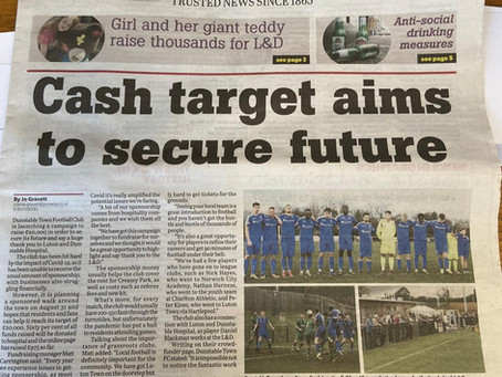Dunstable Town FC Make the Front Page of the Gazette
