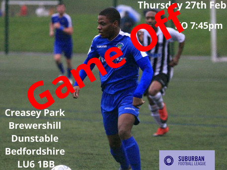 Tonight's game at Creasey Park is off.