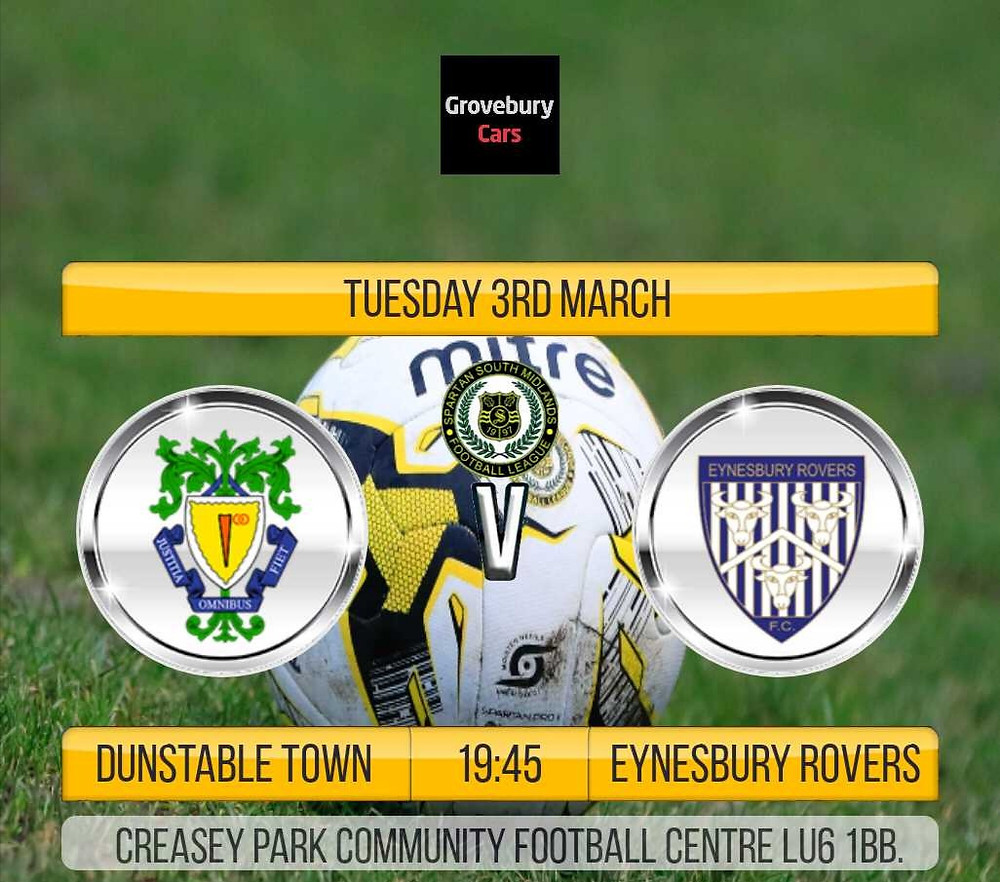 We are back at Creasey Park on tuesday where we entertain Eynesbury Rovers. Please show your support and get behind the lads. ONE CLUB ONE FAMILY DUNSTABLE TOWN FC.