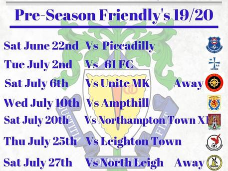 Pre-Season Friendly's 19/20....