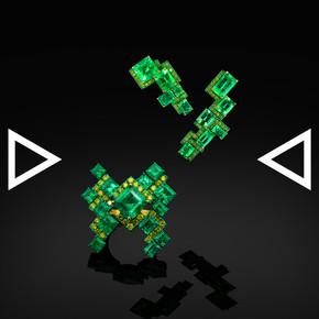 The Tetris in Columbian Style Earrings & Ring