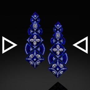 The Iznikish-Blue Plum Blossom Earrings