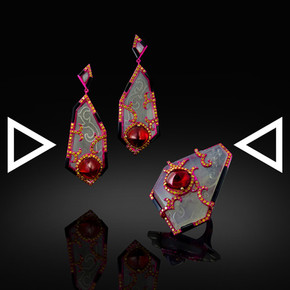 The Red Dragon Ring and Earrings
