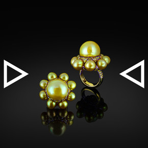 The Golden Pearl Temple Ring