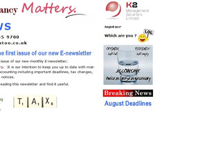 K2 E-Newsletter - Accountancy Matters launched on 1st August 2017