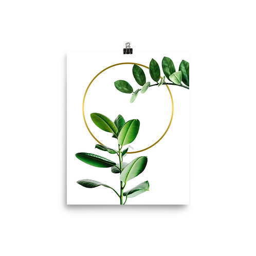 Gold Ring and Green Leaf Poster
