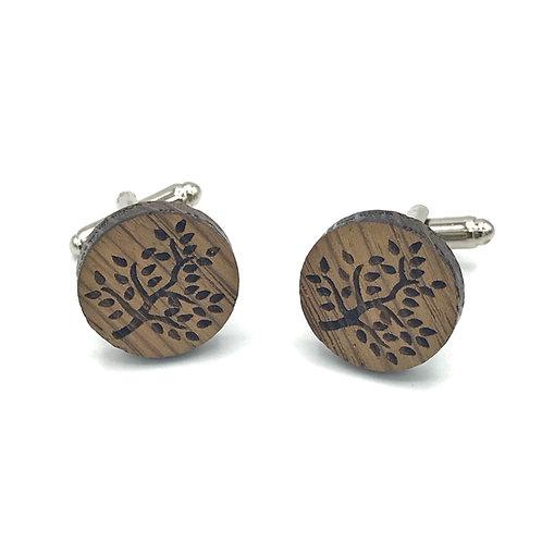 boutons de manchette en bois, arbre de vie