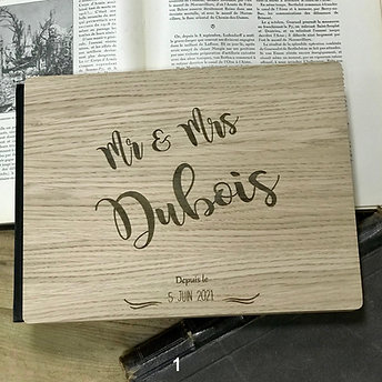Livre d'or mariage en bois personnalisé format horizontal