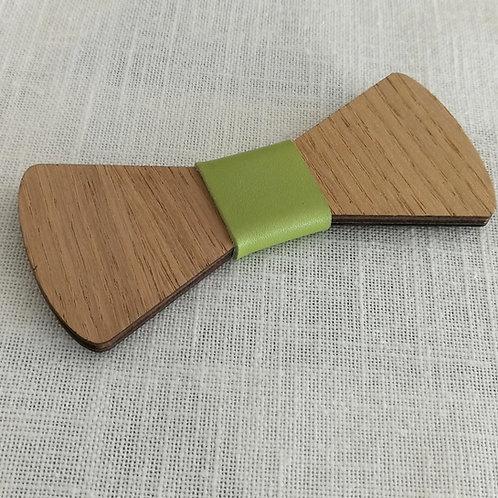 """Nœud Pap """"Voltigeur"""" Bois - cuir vert"""