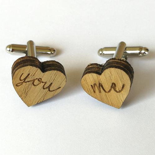 Boutons de manchettes en bois forme coeur you and me