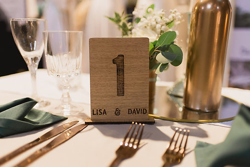 Marque table mariage bois