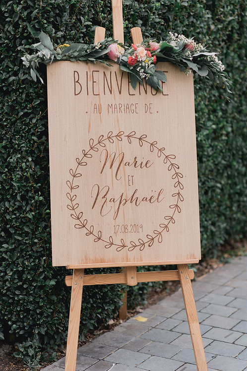 Panneau de Bienvenue Mariage Couronne de Feuilles