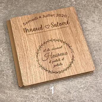 Livre d'or mariage en bois personnalisé