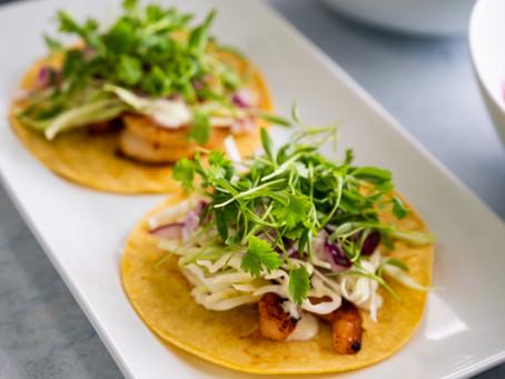Honey Adobo Shrimp Tacos and Micro Cilantro