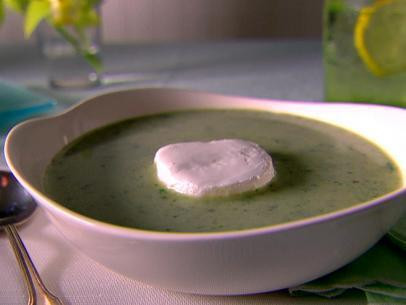 Creamy Micro Arugula and Lettuce Soup with Goat Cheese