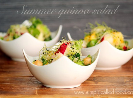 Summer Quinoa Salad with Golden Pea Shoots