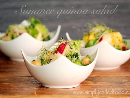 Summer Quinoa Salad with Golden Pea Shoots