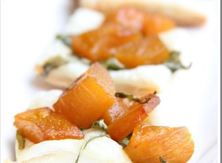 Roasted Pumpkin, Pear, and Micro Arugula Puff Pastry Tarts