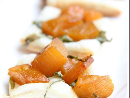 Roasted Pumpkin, Pear, and Micro Arugula Puff Pastry Tarts