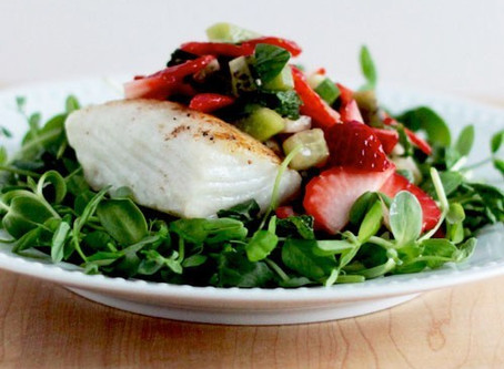 Seared Halibut with Microgreens: Micro Kale and Micro Radish Mix Salad
