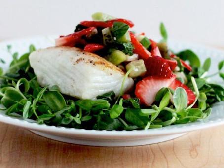 Seared Halibut with Microgreens: Micro Kale and Micro Radish Mix Salad