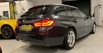 2013 BMW 5 SERIES - £6,795  2.0 520d M Sport Touring  - Automatic - 2.0 L - Estate - Diesel - 5 Door - 5 Seats - Full Dealership History  Only one former keeper, full BMW service history, finished in Sophisto Grey metal with black Dakota leather interior  Heated sports seating, cruise control, one-touch full automated boot with push button soft close, auto load cover/parcel shelf, M Sport kick plates, push button start, 2 keys