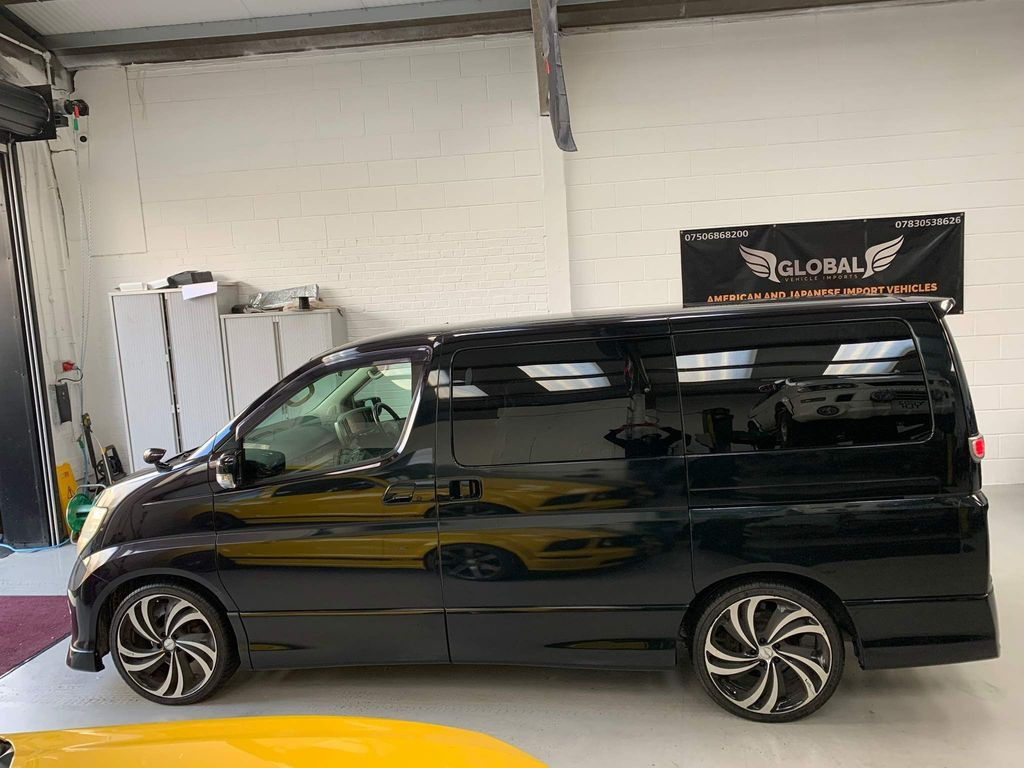 """2007 NISSAN ELGRAND - £8,495  2.5v6 Highway Star LTD  - Automatic - 2.5 L - MPV - Petrol - 5 Doors - 8 Seats  Lovely looking Grade 4 Nissan Elgrand Highway Star LTD Edition  86,000 miles from brand new  Includes; 20"""" diamond-cut alloy wheels by Vemiri, brushed aluminium twin-exit sports exhaust, remote operated sliding side doors, soft closure tailgate, drop down rear DVD screen, reverse/blind spot camera, limo-tinted privacy glass  Elgrand overmats included, along with beige leatherette seat covers w/ unmarked Highway Star half leather interior underneath"""