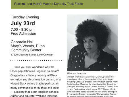 Walidah Imarisha to Present at Mary's Woods on July 23