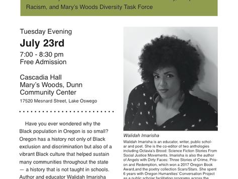 Walidah Imarisha to Present at Mary's Woods on July 23