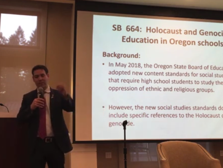 VIDEO: OR Sen. Rob Wagner Discusses Holocaust and Genocide Education Bill